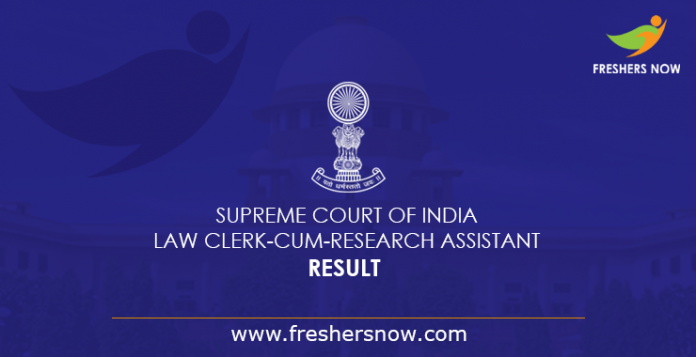 2019 Outcome Research Assistant Assistant and Legal Clerk of the Supreme Court of India