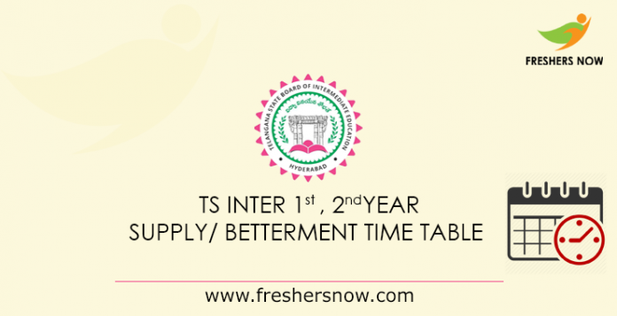 TS Inter 1st, 2nd Year Supply Betterment Time Table 2019