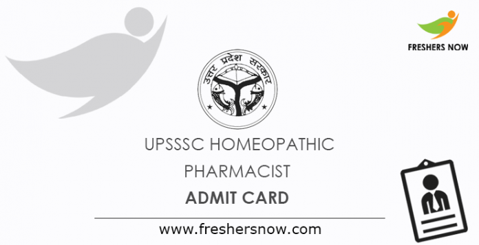 UPSSSC Homeopathic Pharmacist Admit Card 2019