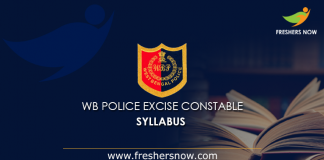 WB Police Excise Constable Syllabus 2019