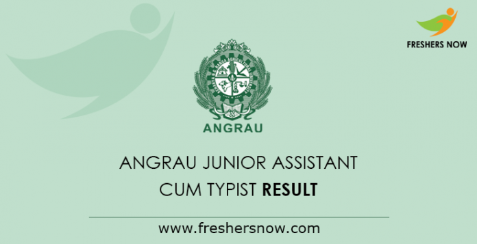 ANGRAU Junior Assistant cum Typist Mains Result 2019