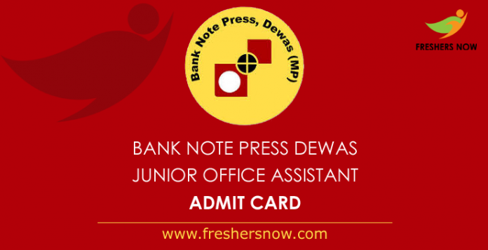 Bank Note Press Dewas Jr Office Assistant Admit Card 2019