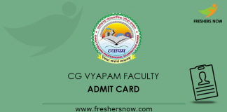 CG Vyapam Faculty Admit Card 2019