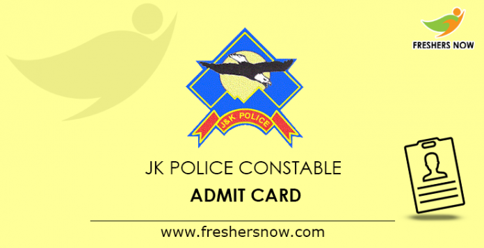JK Police Constable Admit Card 2019