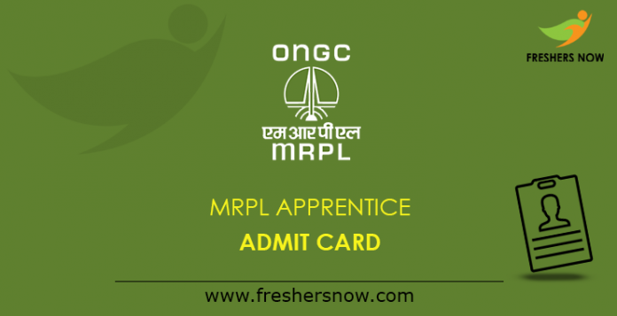 MRPL Apprentice Admit Card 2019