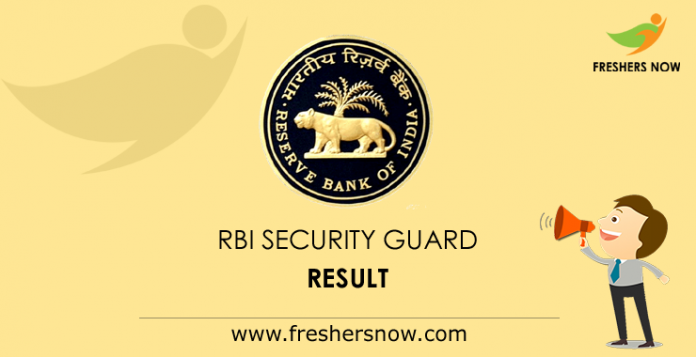 RBI Security Guard Result 2019