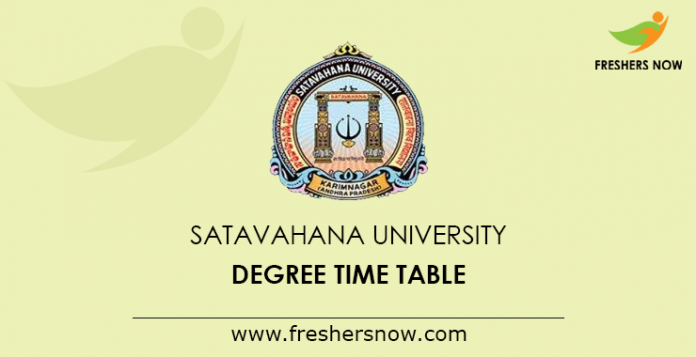 Satavahana University Degree Time Table