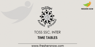 TOSS SSC Inter Time Tables