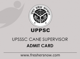 UPSSSC Cane Supervisor Admit Card 2019