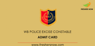 West Bengal Police Excise Constable Admit Card 2019