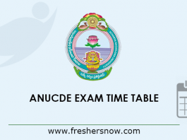 ANUCDE Exam Time Table 2019