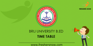 Brij University B.Ed Time Table 2019