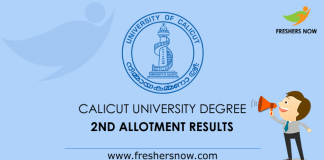 Calicut University Degree Second Allotment 2019 Results