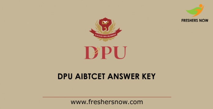 DPU AIBTCET Answer Key 2019