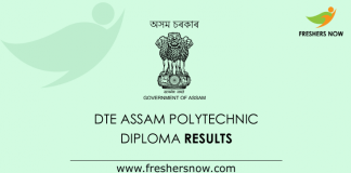DTE Assam Polytechnic Diploma Results 2019