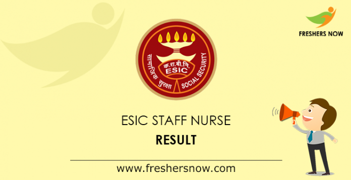 ESIC Staff Nurse Result 2019