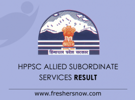 HPPSC Allied Subordinate Services Mains Result 2019