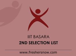 IIIT Basara 2nd Selection List 2019