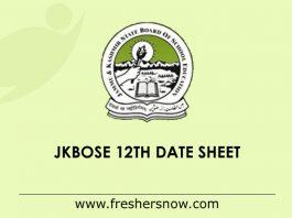 JKBOSE 12th Date Sheet 2019