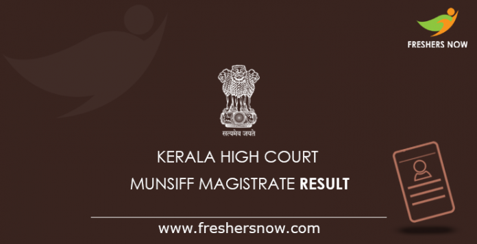 Kerala High Court Munsiff Magistrate Result 2019