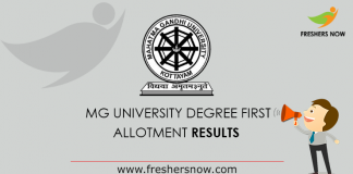 MG University Degree First Allotment 2019 Results