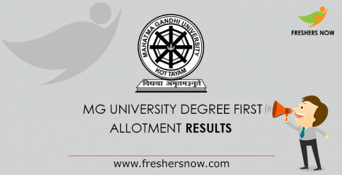 MG University Degree First Allotment 2019 Results - UG CAP