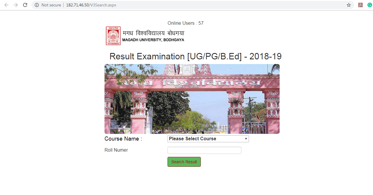 Magadh University Result Page
