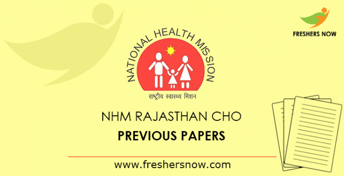 NHM Rajasthan CHO Previous Papers