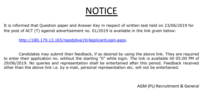 SAIL ACT Answer Key 2019 Notice