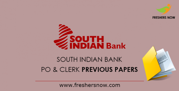 South Indian Bank PO & Clerk Previous Papers