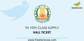 TN 10th Class Supplementary Hall Tickets 2019