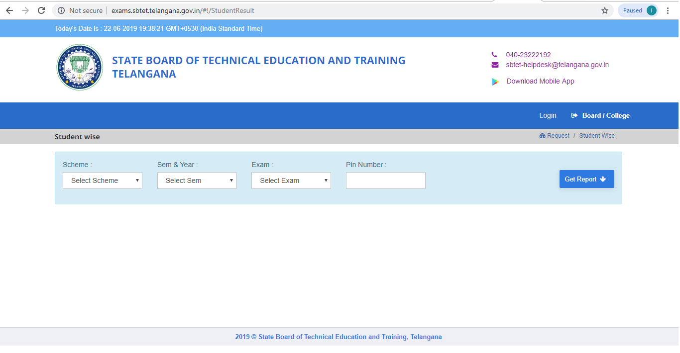 TS SBTET Result 2019 Page