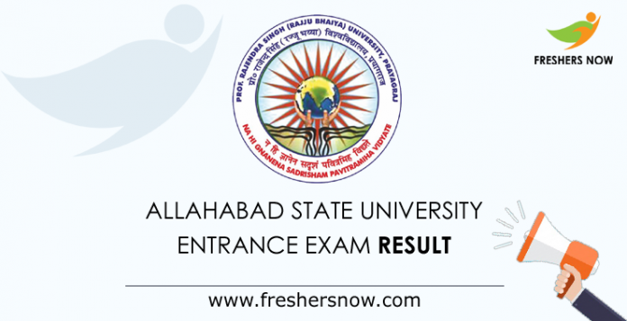 Allahabad State University Entrance Exam Result 2019