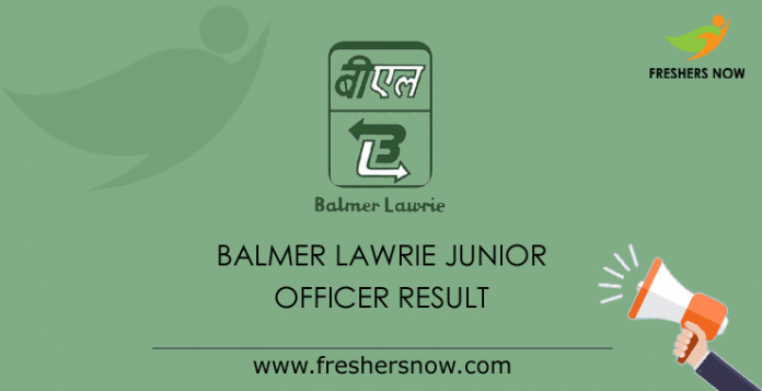 Balmer Lawrie Junior Officer Result