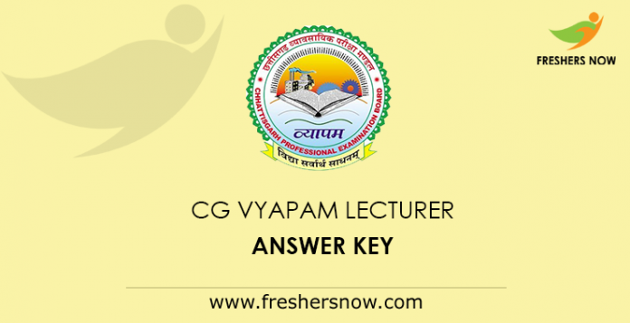 CG Vyapam Lecturer Answer Key