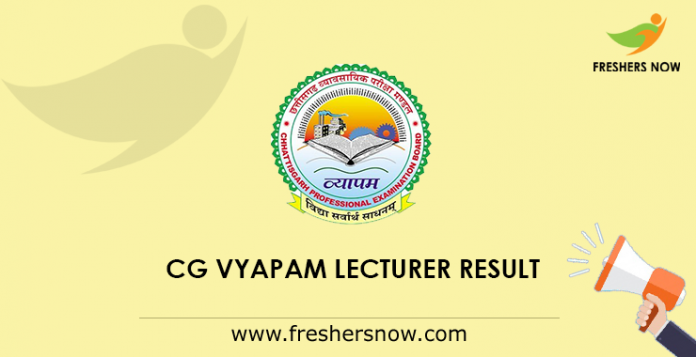 CG Vyapam Lecturer Result