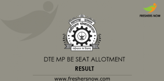 DTE MP BE Seat Allotment Result