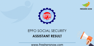 EPFO Social Security Assistant Result