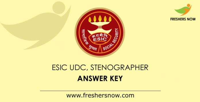 ESIC UDC, Stenographer Answer Key