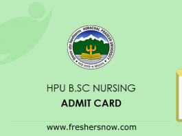 HPU B.SC Nursing Admit Card
