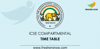 ICSE Compartmental Time Table
