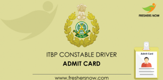 ITBP Constable Driver Admit Card
