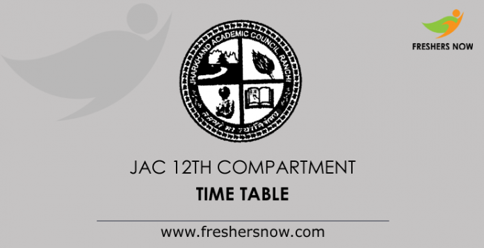 JAC 12th Compartment Time Table 2019