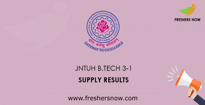 JNTUH B.Tech 3-1 Supply Results