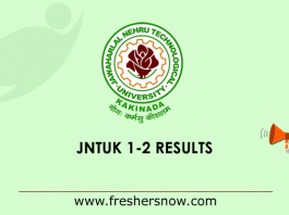 JNTUK B.Tech 1-2 Results 2019