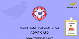 Jharkhand Paramedical Admit Card