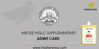MBOSE HSSLC Supplementary Admit Card
