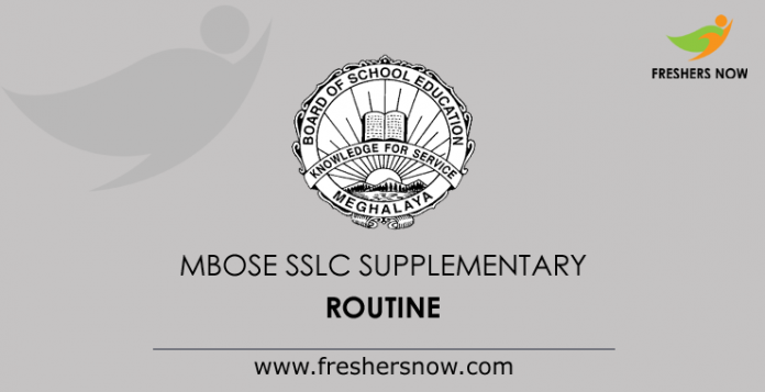 MBOSE SSLC Supplementary Routine
