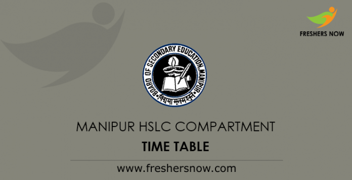 Manipur HSLC Compartment Time Table 2019