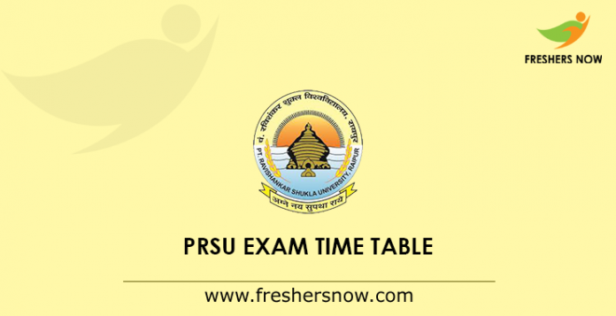 PRSU Exam Time Table 2019